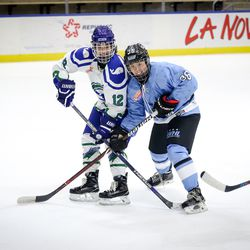 Buffalo Beauts forward Kourtney Kunichicka battles for position in front of the net with Connecticut Whale forward Jamie Goldsmith during a NWHL game on Dec. 16th, 2017 at HarborCenter in Buffalo, NY
