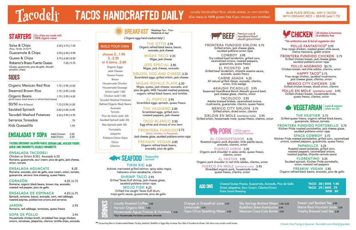 Tacodeli menu