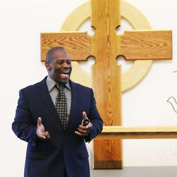 Pastor Ron Williams as a guest preacher at the Community of Grace Presbyterian Church in Sandy Sunday, Aug. 17, 2014. Williams, a nondenominational Christian pastor, overcame a rough childhood to become an internationally famous body builder, fitness instructor, author and preacher.