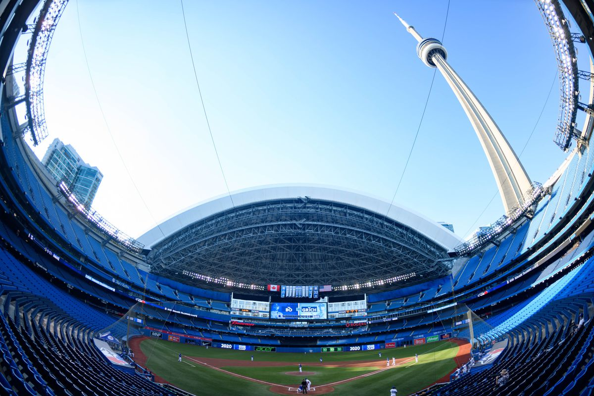 Fisheye view of Rogers Centre during the intrasquad game that's part of the Toronto Blue Jays summer training camp on July 17, 2020, at Rogers Centre in Toronto, ON, Canada