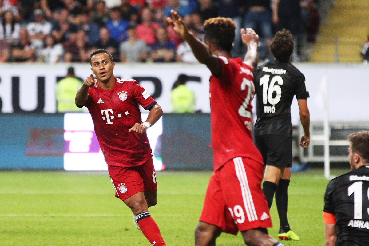 Eintracht Frankfurt v Bayern Muenchen - DFL Supercup 2018 FRANKFURT AM MAIN, GERMANY - AUGUST 12: Thiago of Bayern Munich celebrates scoring the fifth goal after being set up perfectly by Kingsley Coman during the DFL Supercup 2018 match between Eintracht Frankfurt and Bayern Muenchen at Commerzbank-Arena on August 12, 2018 in Frankfurt am Main, Germany.