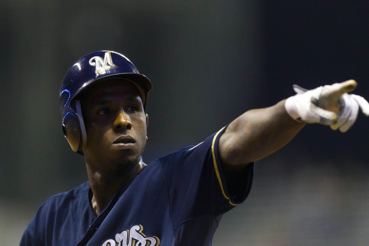 July 30, 2012: Milwaukee, WI, USA;  Milwaukee Brewers center fielder Nyjer Morgan (2) reacts after reaching base during the eighth inning against the Houston Astros at Miller Park.  Mandatory Credit: Jeff Hanisch-US PRESSWIRE