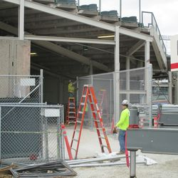 Chain link fences up, around Gate R/VIP Gate, along Sheffield -