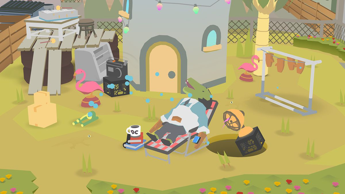 Donut County - the guy went out on a garden chair in his garden