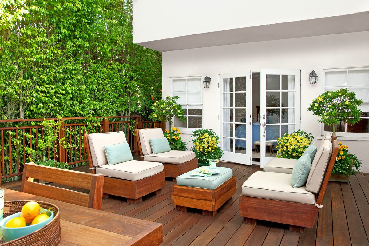 White French Doors Opening To Patio Deck