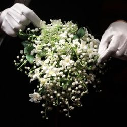 LONDON - JULY 20:  A recreation of the Duchess of Cambridge's wedding bouquet is photographed before it goes on display at Buckingham Palace during the annual summer opening on July 20, 2011 in London, England. The bouquet which was made up of lily of the