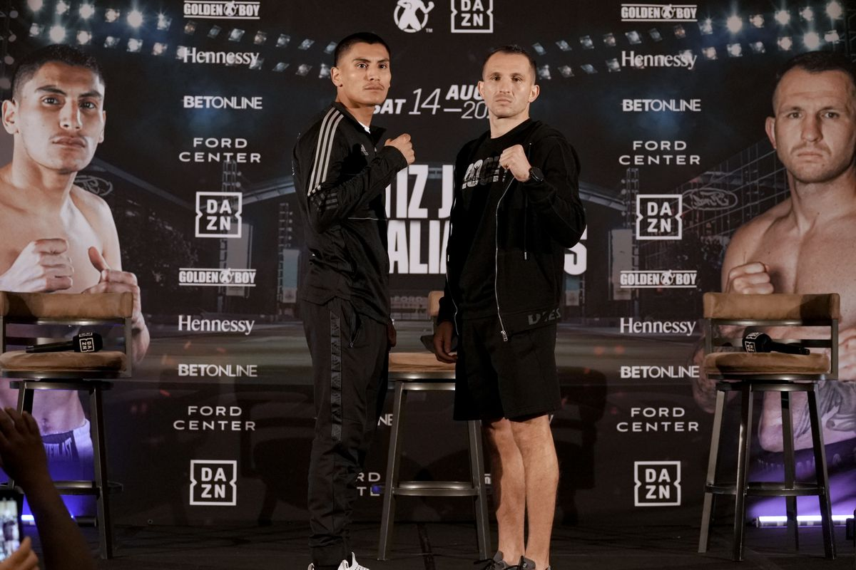 Vergil Ortiz Jr and Egidijus Kavaliauskas pose during a press conference in The Ford Center at The Star on August 12, 2021 in Frisco, Texas.