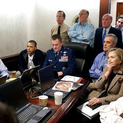 President Barack Obama and members of the national security team watch an update on the mission against Osama bin Laden in the Situation Room of the White House.