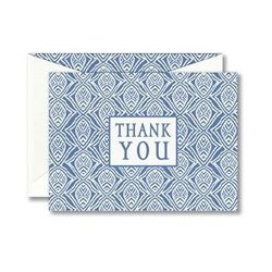 """<a href=""""http://www.williamarthur.com/products/PeaceLove-Blue-Block-Print-Boxed-Thanks-You-Notes_14-B59225_5309""""> William Arthur PeaceLove blue block Thank You cards</a>, $16 for 10 cards, williamarthur.com"""