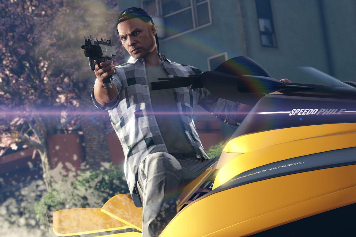 A man holding a gun while riding a jet ski