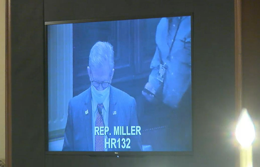 State Rep. Chris Miller defends himself before the House votes on the resolution to condemn him.