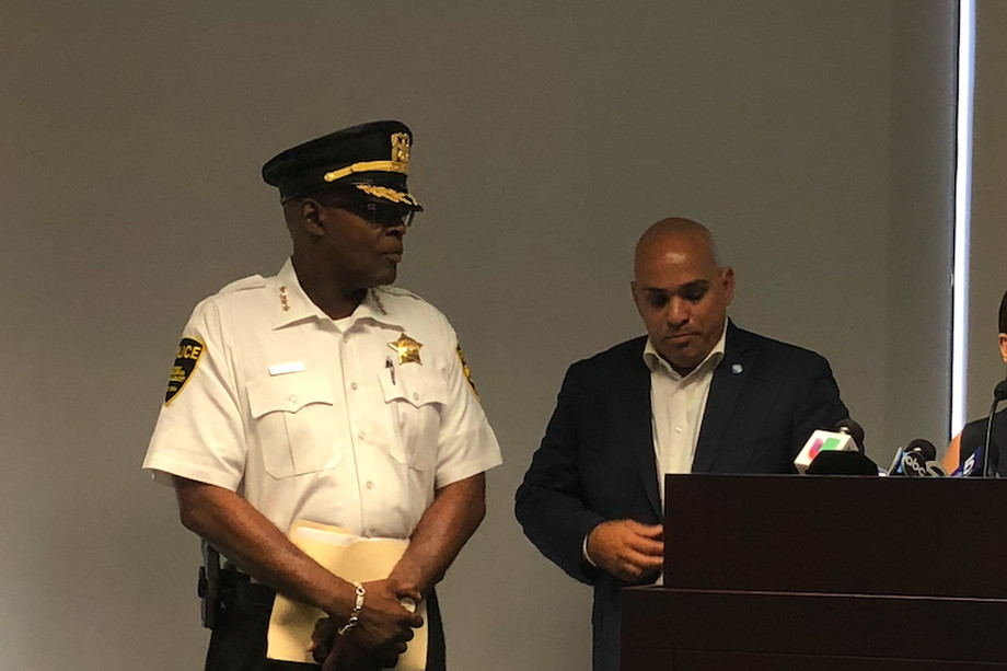 Former Forest Preserve District Police Chief Kelvin Pope pictured at a July 2018 press conference alongside Commissioner Luis Arroyo Jr.
