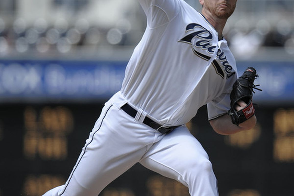 SAN DIEGO, CA - JUNE 8: Dustin Moseley #26 of the San Diego Padres pitches during the first inning of a baseball game against the Colorado Rockies at Petco Park on June 8, 2011 in San Diego, California.  (Photo by Denis Poroy/Getty Images)