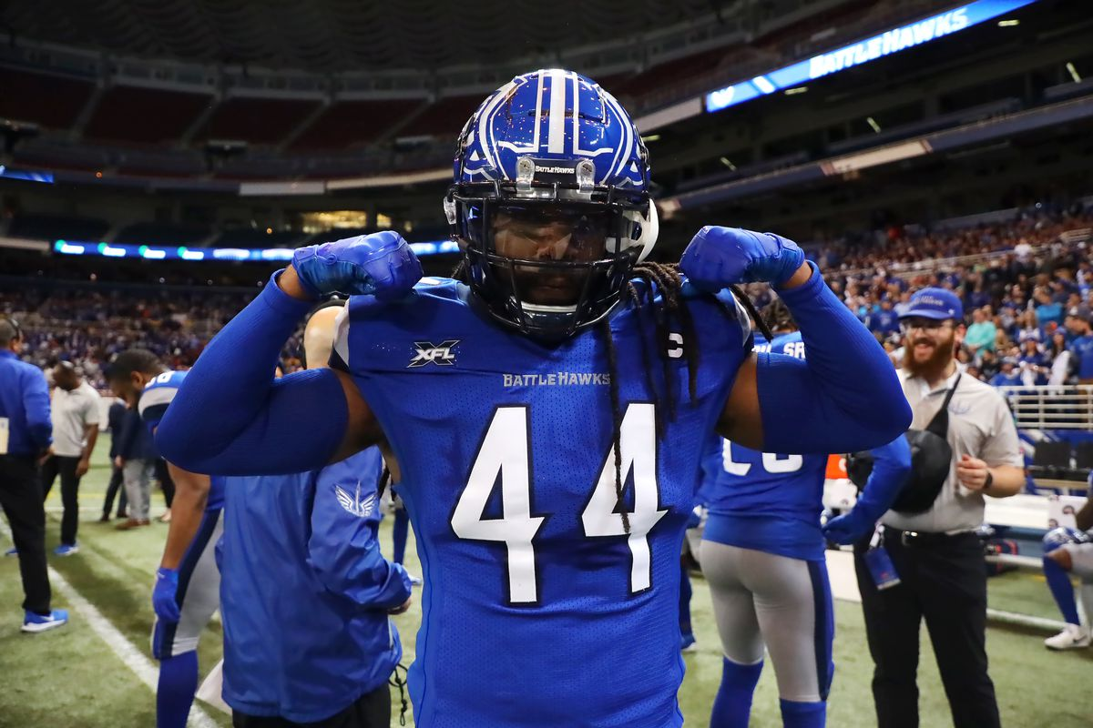 Joe Powell #44 of the St. Louis BattleHawks flexes before the XFL game against the New York Guardians at The Dome at America's Center on February 23, 2020 in St. Louis, Missouri.
