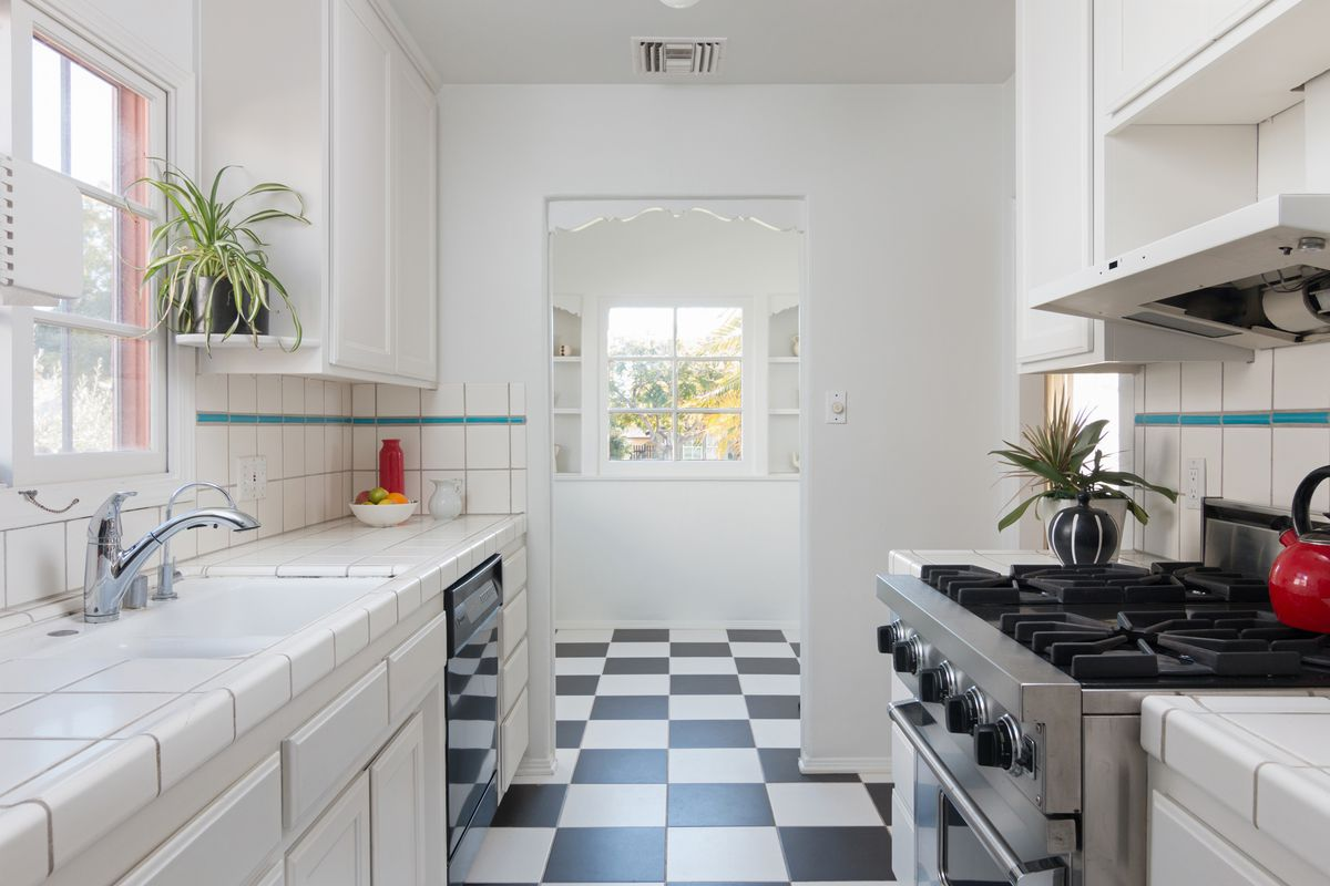 Kitchen with tile counters