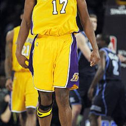 Los Angeles Lakers center Andrew Bynum reacts after getting a foul call against the Utah Jazz during the first half of an NBA basketball game in Los Angeles, Tuesday, April 14, 2009.