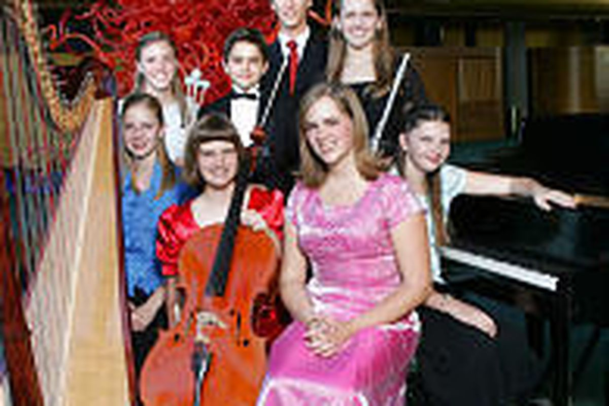2005 Salute to Youth \— Utah's best young musicians. Front row: Natalie Richards, left, Catherine Willey, Angela Garrett, Caitlin Carmack. Back row: Robyn Peterson, left, William Hagen, Zachary Coombs and Christina Lee.