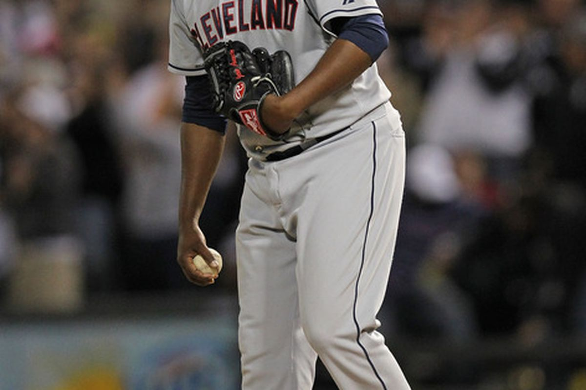 Jairo Asencio of the Cleveland Indians reacts after giving up a home run to Dayan Viciedo of the Chicago White Sox at U.S. Cellular Field in Chicago, Illinois. (Photo by Jonathan Daniel/Getty Images)