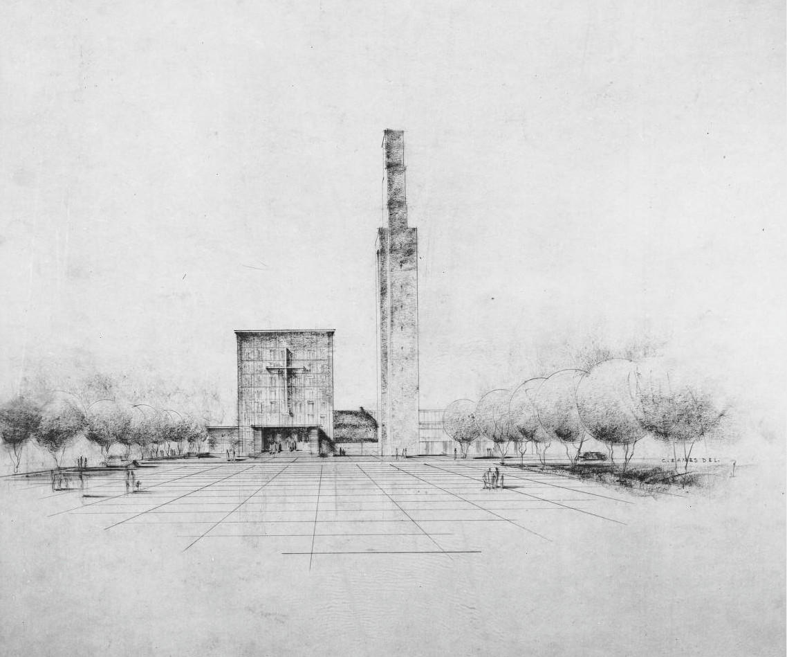 One of the Saarinen's early renderings of the design of First Christian Church