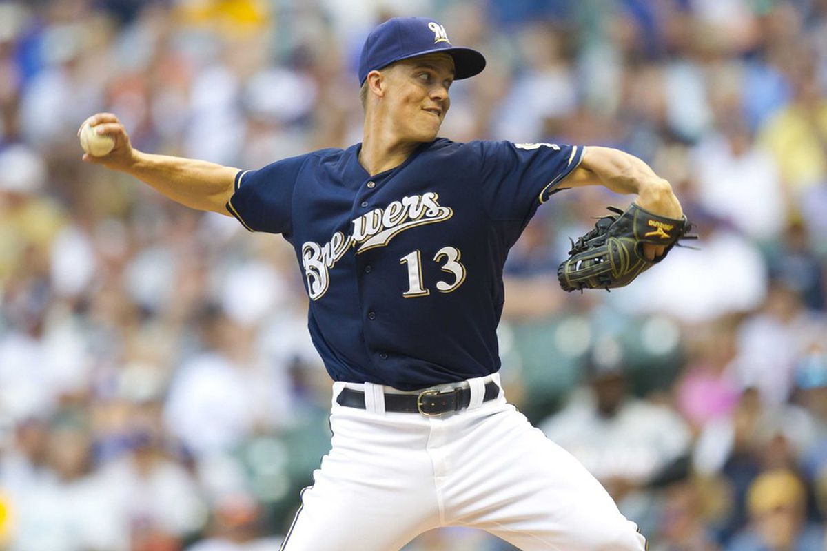 July 2, 2012: Milwaukee, WI, USA;  Milwaukee Brewers pitcher Zack Greinke (13) during the game against the Miami Marlins at Miller Park.  The Brewers defeated the Marlins 6-5.  Mandatory Credit: Jeff Hanisch-US PRESSWIRE