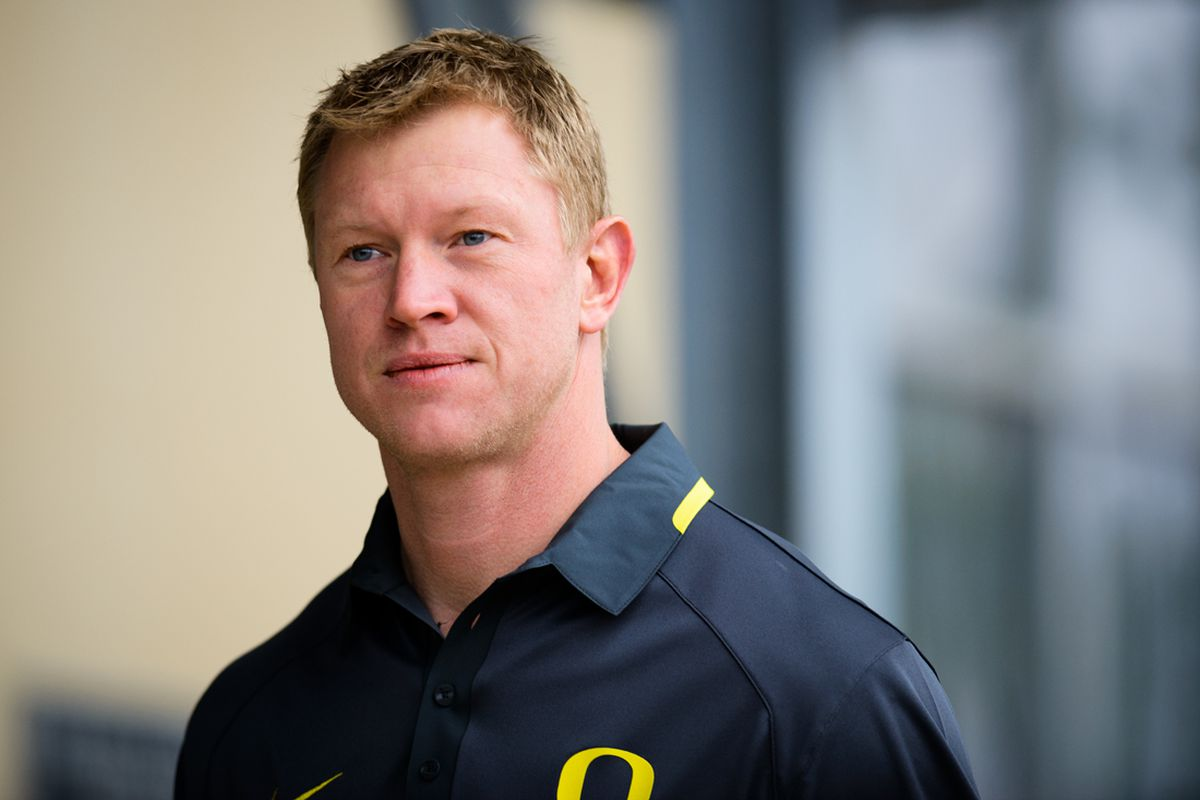 Oregon offensive coordinator Scott Frost arrives to the practice field. The Oregon Ducks practice for the Alamo Bowl at Alamo Heights High School on Dec. 26, 2013. (Michael Arellano/Emerald)