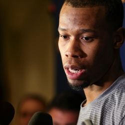 Utah Jazz guard Rodney Hood talks to reporters at a media availability at the Four Seasons Hotel in San Francisco on Wednesday, May 3, 2017.