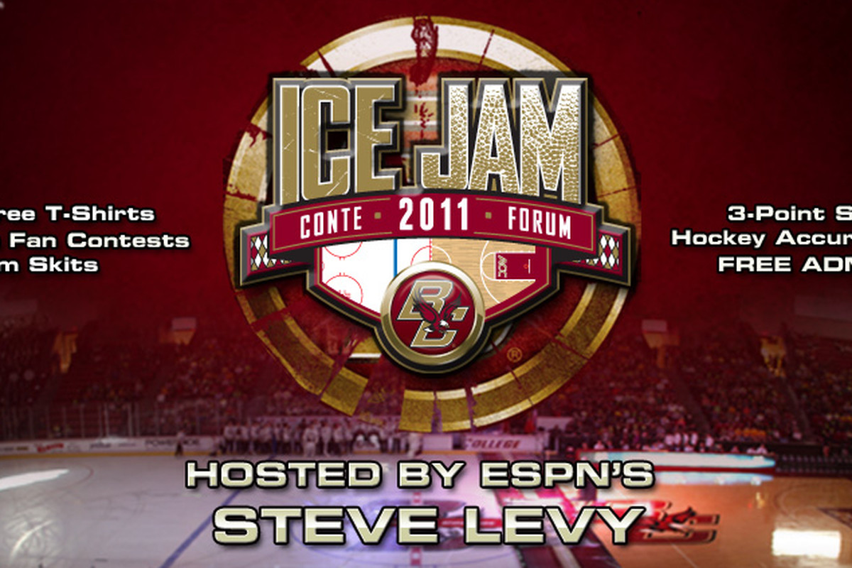 Ice Jam, the annual celebration of Boston College men's and women's basketball and hockey, takes place on Thursday, October 27 at 7:30 p.m. EDT inside Conte Forum in Chestnut Hill, MA. (Photo via BCEagles.com).