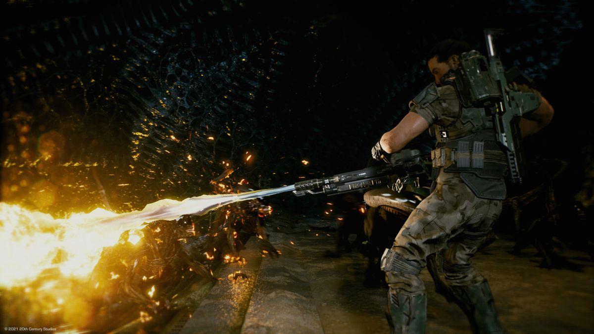 A Space Marine burns an Alien in Aliens: Fireteam Elite