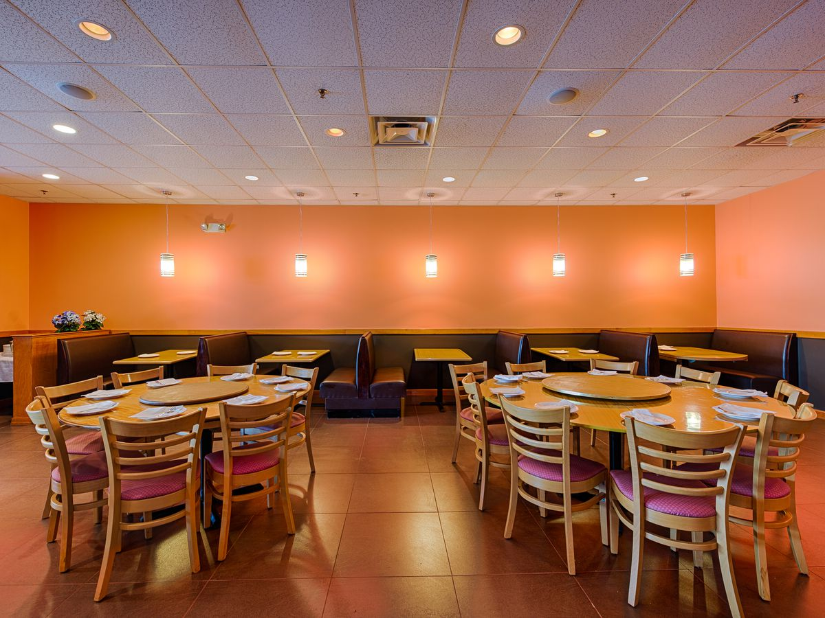 The large selection of tables that make up the interior of Peter Chang in Arlington