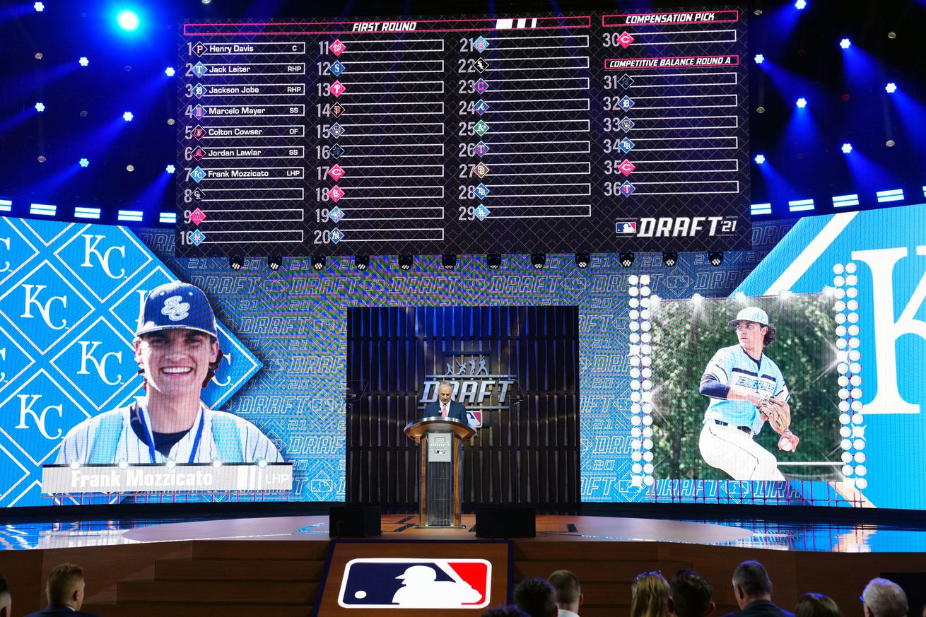 MLB Commissioner Rob Manfred announces Frank Mozzicato as the seventh overall pick for the Kansas City Royals during the 2021 Major Leauge Baseball Draft at Bellco Theater at Colorado Convention Center on Sunday, July 11, 2021 in Denver, Colorado.