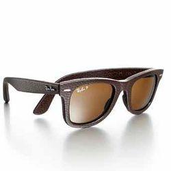 Rayban Leather-Wrapped Wayfarer Sunglasses, Brown, $300