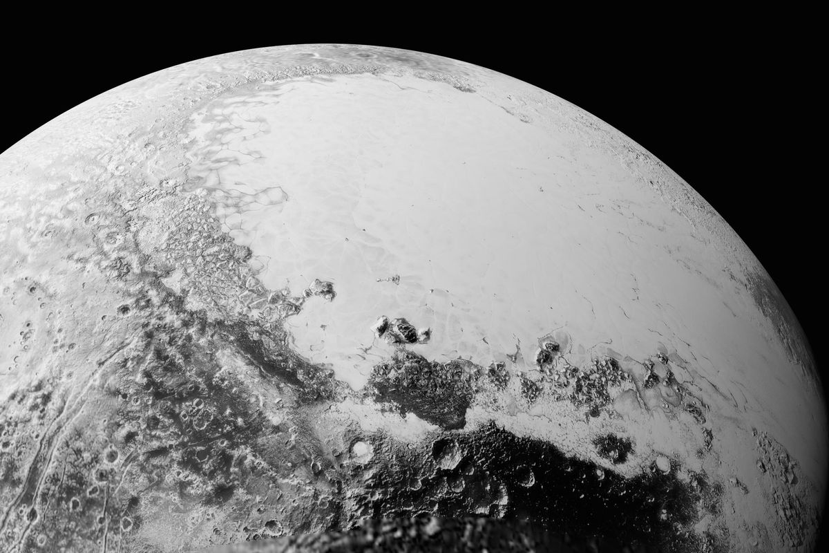 A simulated view of Pluto from 1,100 miles up, based on a composite of photos taken by New Horizons.