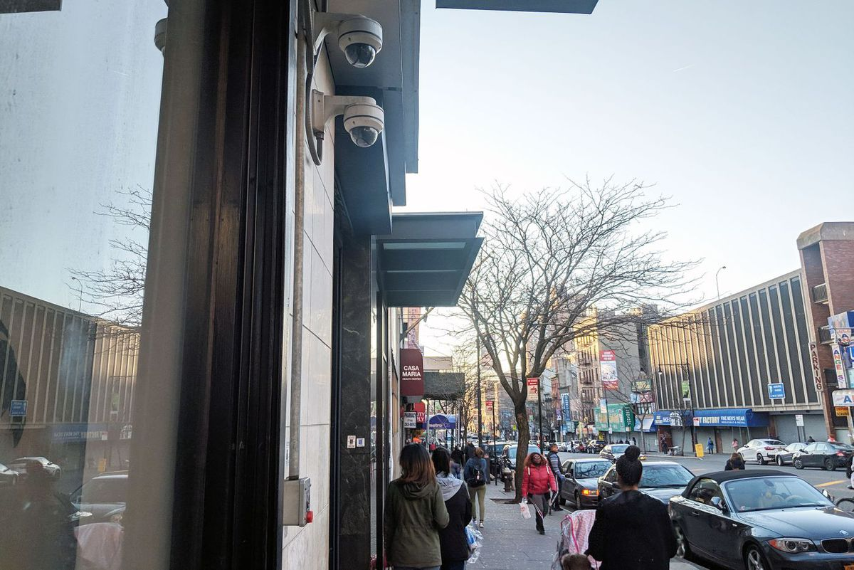 Security cameras at East 149th Street. The Bronx District Attorney hopes to enroll public and private cameras in the Computer Assisted Mapping System, or CAMS.