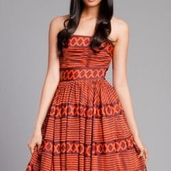 """<a href=""""http://www.tracyreese.com/p-763-tracy-reese-auburn-tribal-stripes-strapless-with-borders.aspx"""" rel=""""nofollow"""">Tracy Reese Auburn Tribal Stripes Strapless with Borders</a>, $350"""