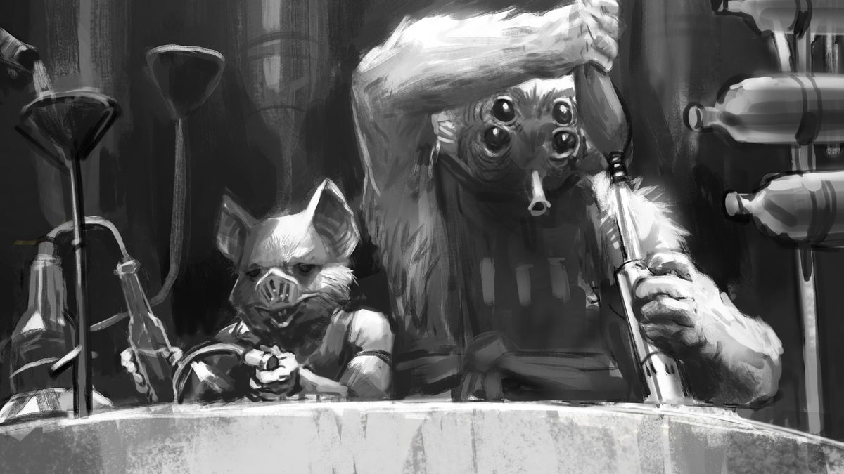Two classic Star Wars creatures tend bar in a black-and-white sketch. One has fox years and a pig snout, the other four eyes and a hornlike snoot for a mouth.