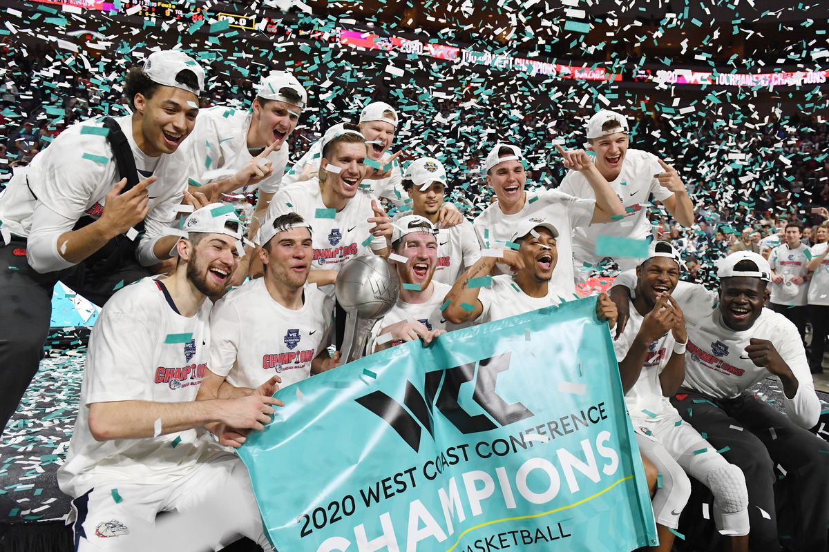 The Gonzaga Bulldogs celebrate with the trophy after defeating the Saint Mary's Gaels 84-66 to win the championship game of the West Coast Conference basketball tournament at the Orleans Arena on March 10, 2020 in Las Vegas, Nevada.
