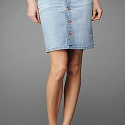 """<a href=""""http://www.agjeans.com/The_Lula_Skirt__19_Years/pd/c/19/np/19/p/3033.html""""> AG Adriano Goldschmeid button front denim skirt</a>, $205 agjeans.co"""