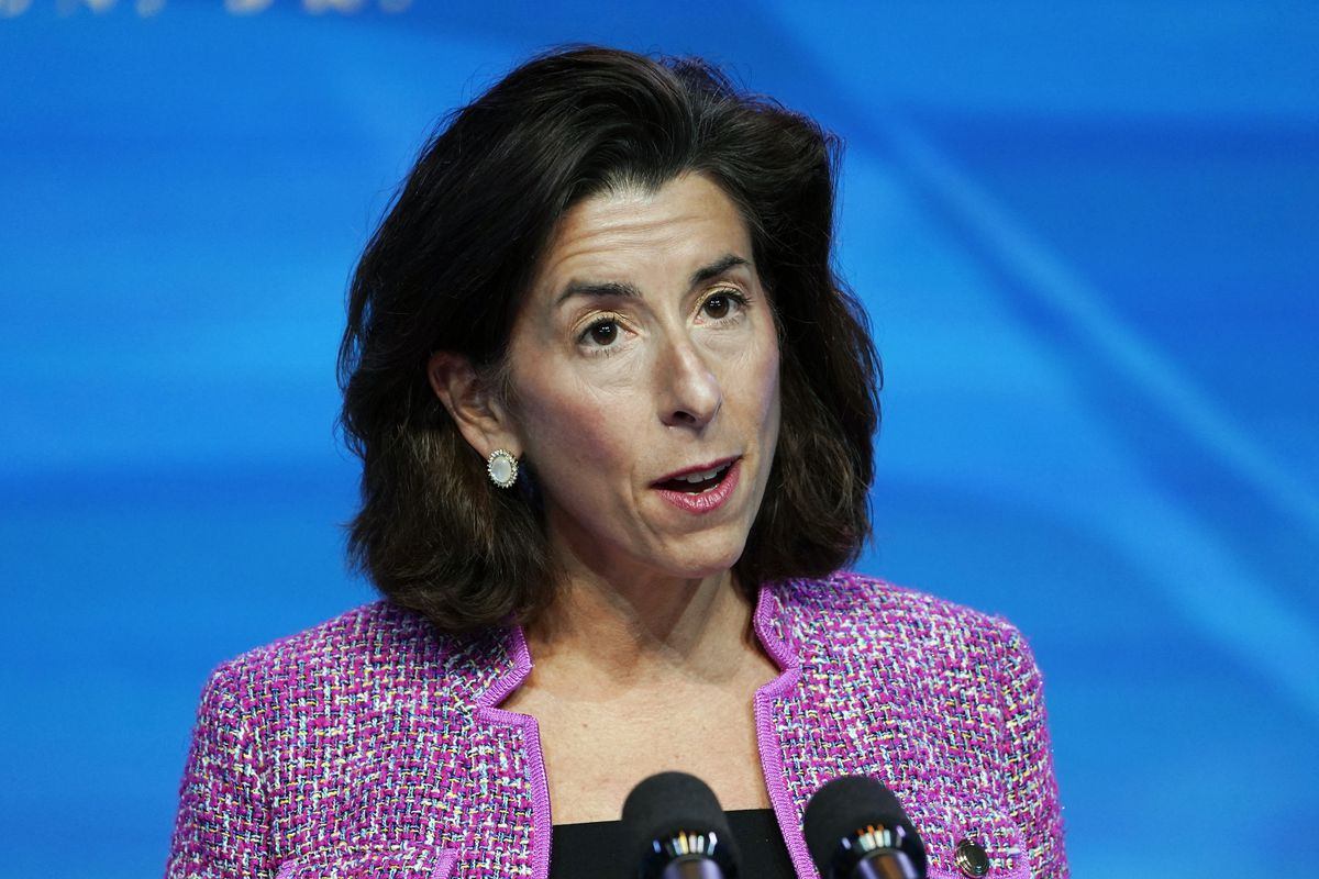 In this Jan. 8, 2021 file photo, President-elect Joe Biden's nominee for Secretary of Commerce, Rhode Island Gov. Gina Raimondo speaks during an event at The Queen theater in Wilmington.
