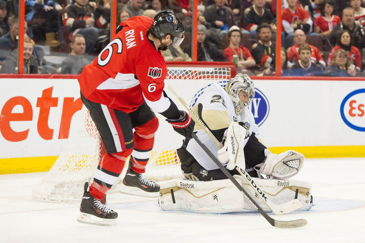 Bobby Ryan scoring against the Penguins in the laziest way possible
