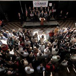 Republican presidential candidate, former Pennsylvania Sen. Rick Santorum talks during a rally Friday, March 9, 2012, in Topeka, Kan.