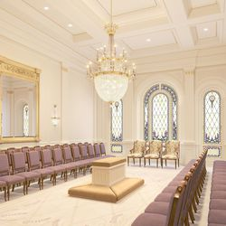 A rendering of a sealing room inside the Tooele Valley Utah Temple.