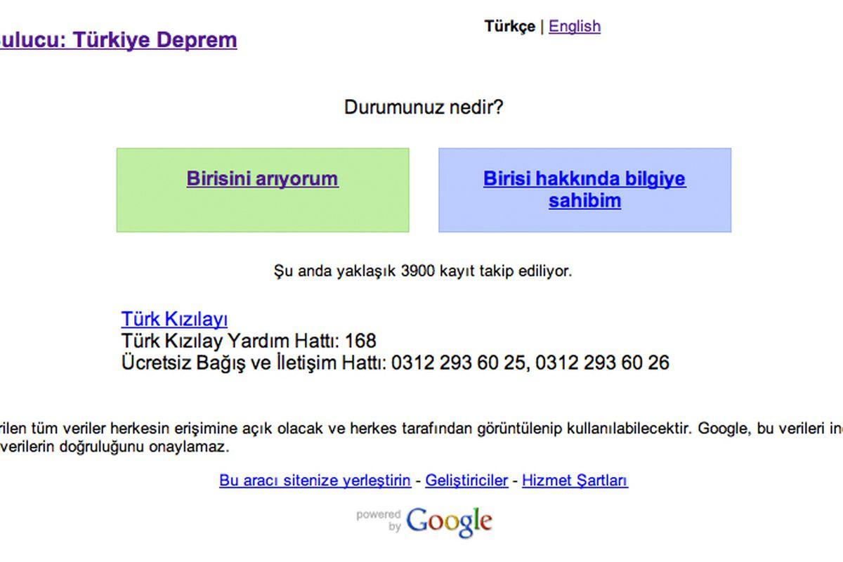 Google Person Finder Turkey Earthquake