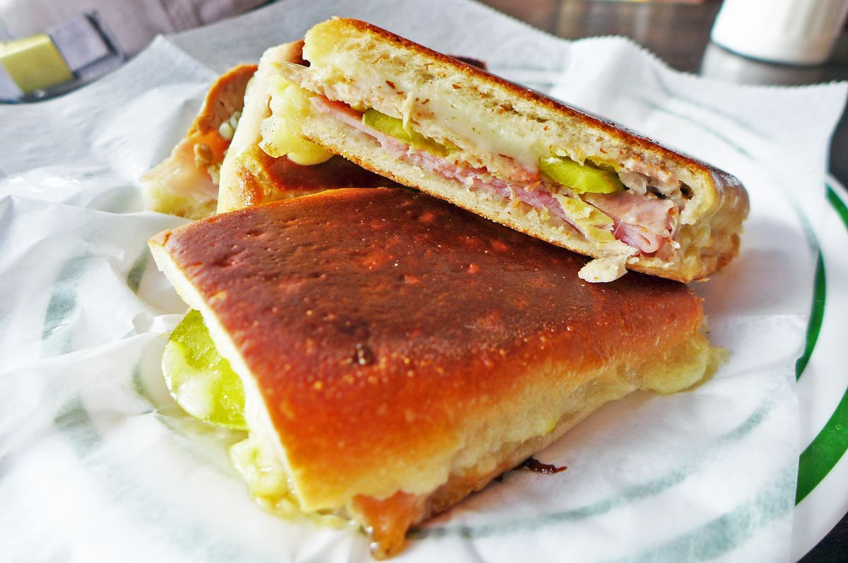 Floridita's Cubano gets divided into three, shown here is a skewed stack and brown on the outside.