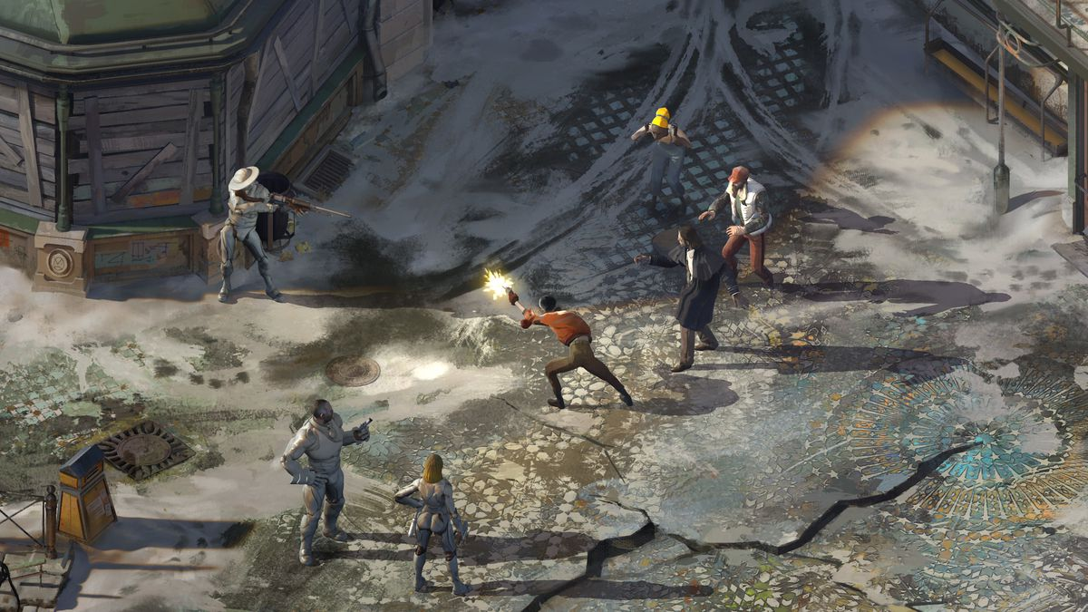 a shootout in the street in Disco Elysium