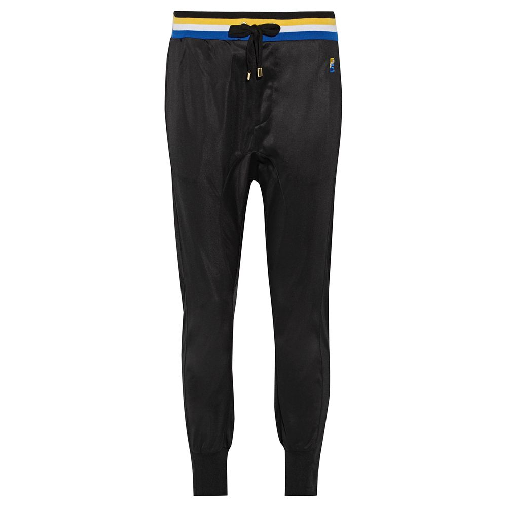 black track pants with striped detail