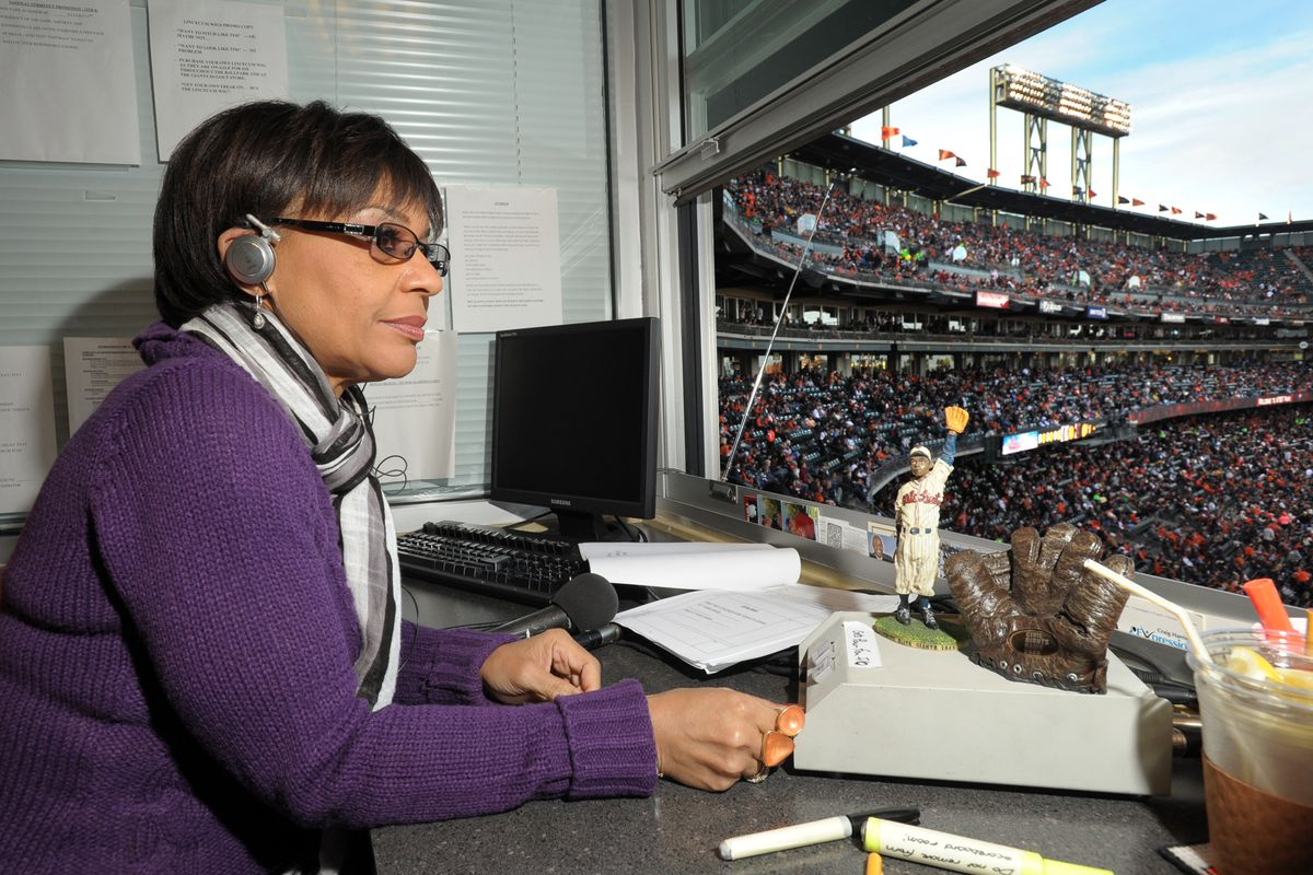 Renel Brooks-Moon, the Oakland-born radio disc jockey, works as the PA announcer for the San Francisco Giants during their Friday night May 20, 2011 game against the Oakland Athletics at AT&T Park in San Francisco, Calif. (Karl Mondon/Staff)