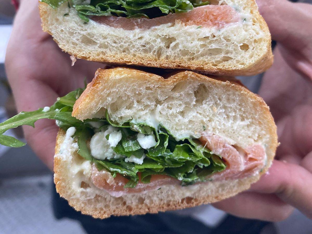 A baguette sandwich at Austin Rotisserie
