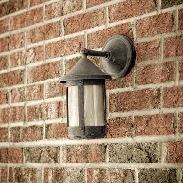 Front Porch Light Set Into Brick Wall
