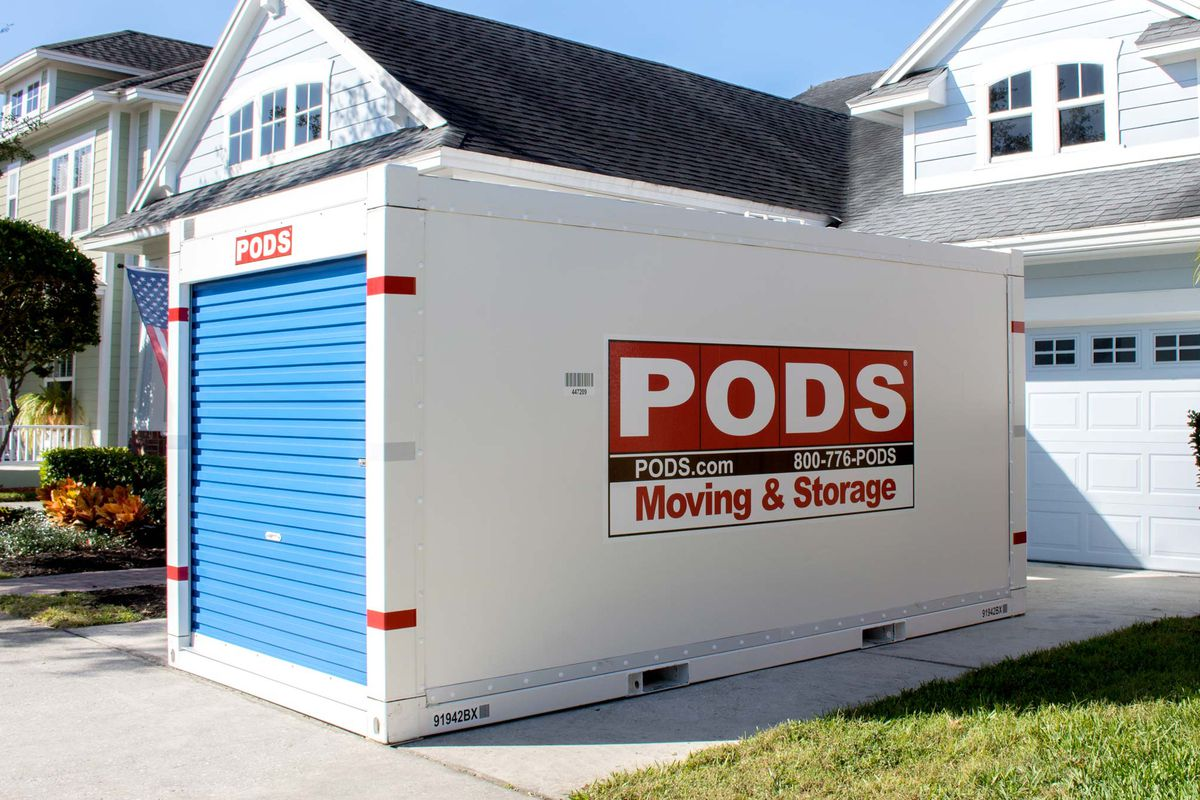 PODS storage container in front of a home