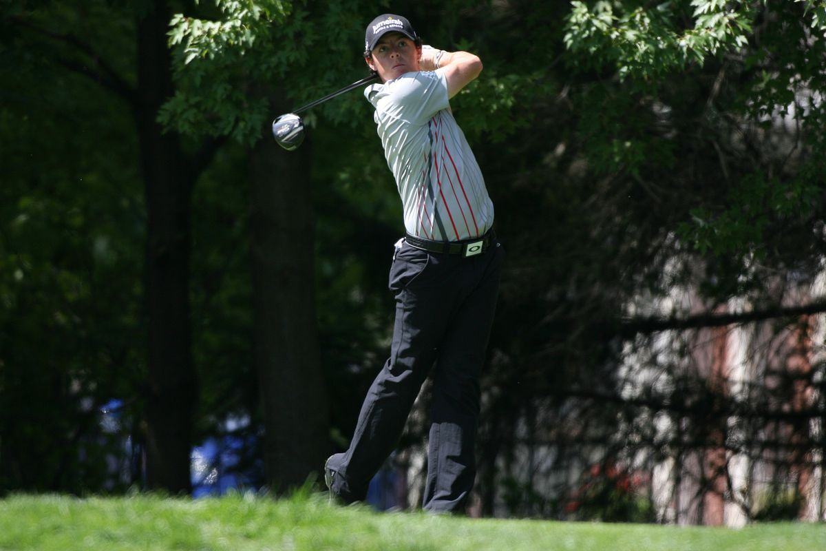 Sep 9, 2012; Carmel, IN, USA; Rory McIlroy tees off on the fifth hole during the BMW Championship at Crooked Stick Golf Club. Mandatory Credit: Brian Spurlock-US PRESSWIRE